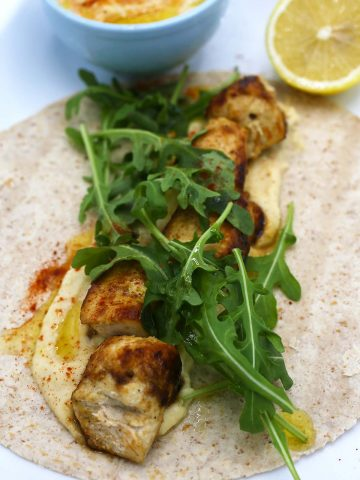 Chicken hummus wrap