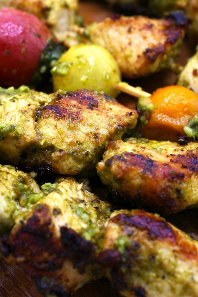 Chicken pesto kebabs.