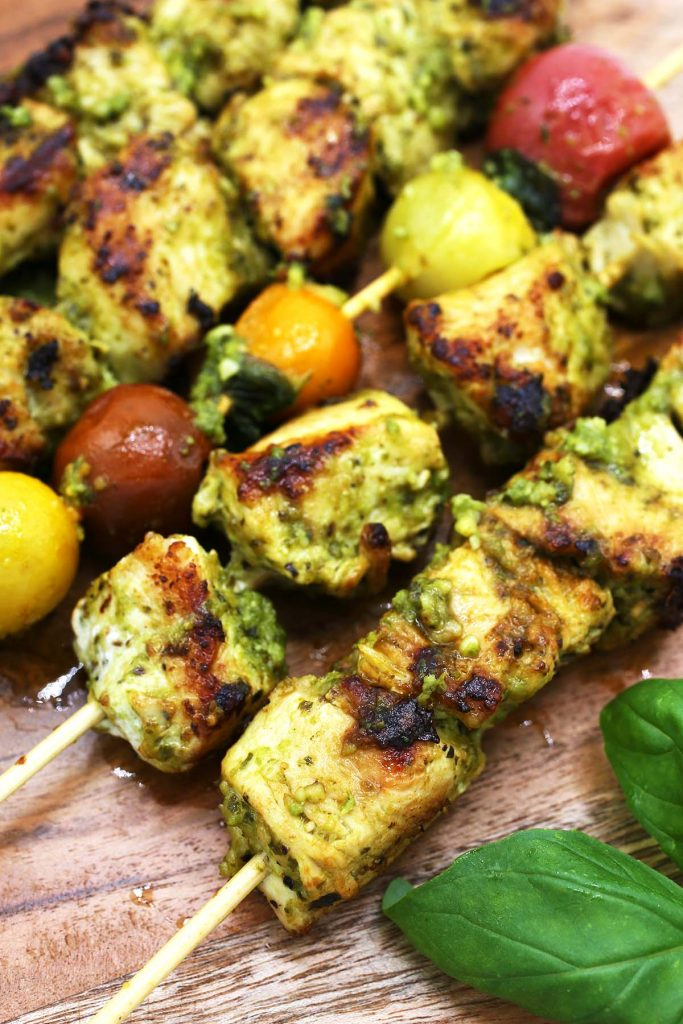 Grilled chicken and tomato kebabs.