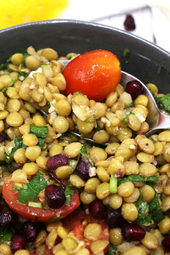 Spoonful of lentil salad.