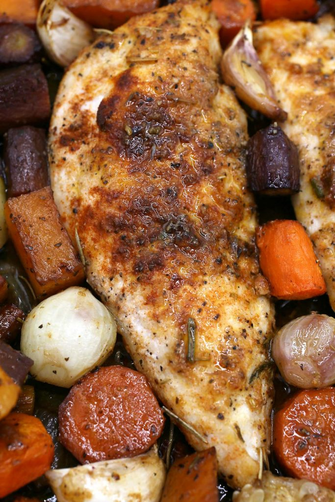 One–pan chicken and vegetable.