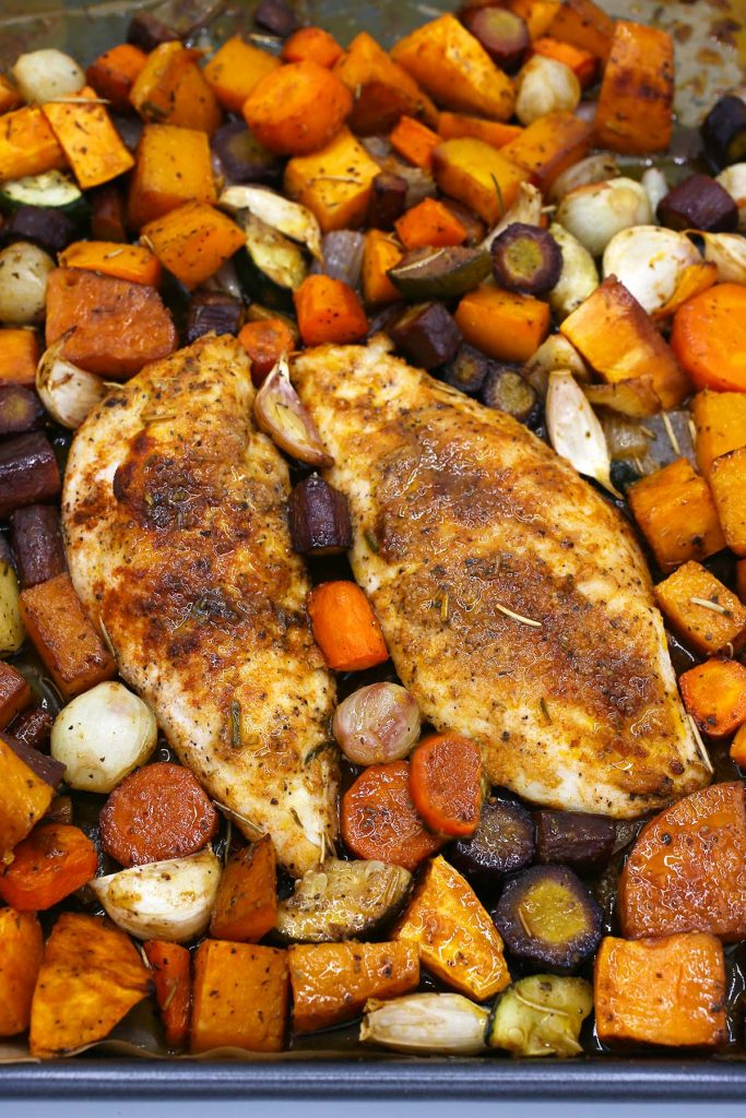 One-pan chicken and vegetable.