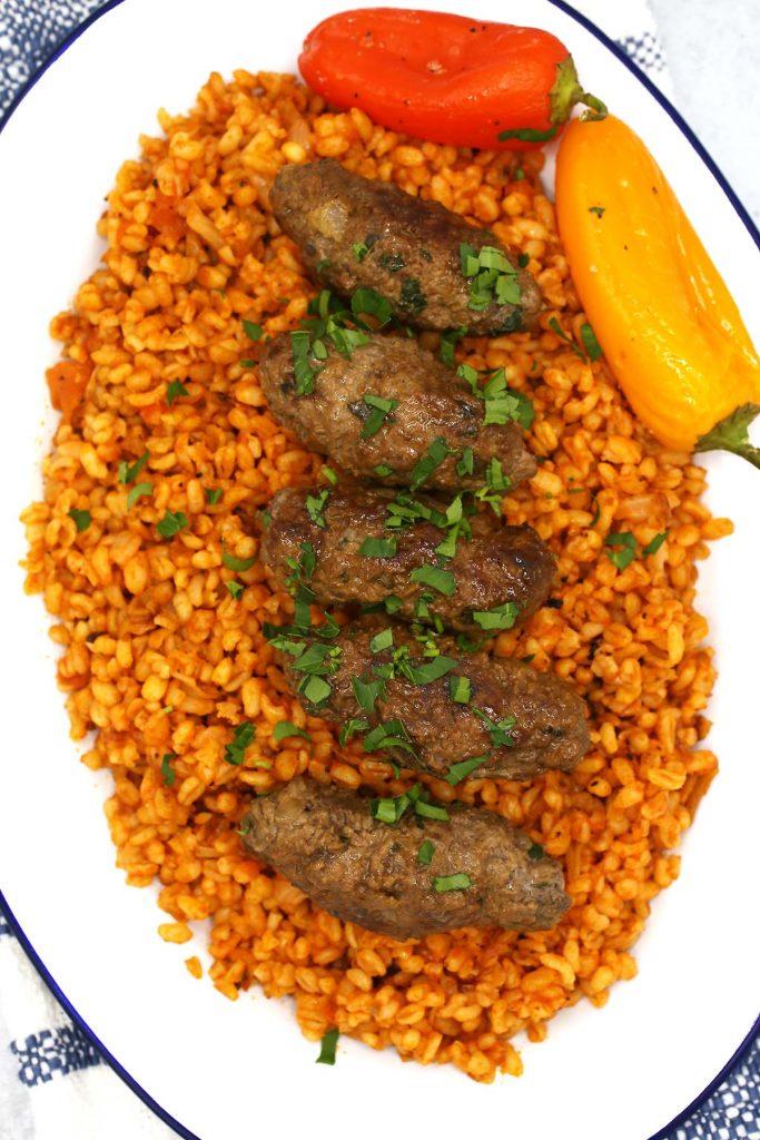Bulgur with beef kafta.