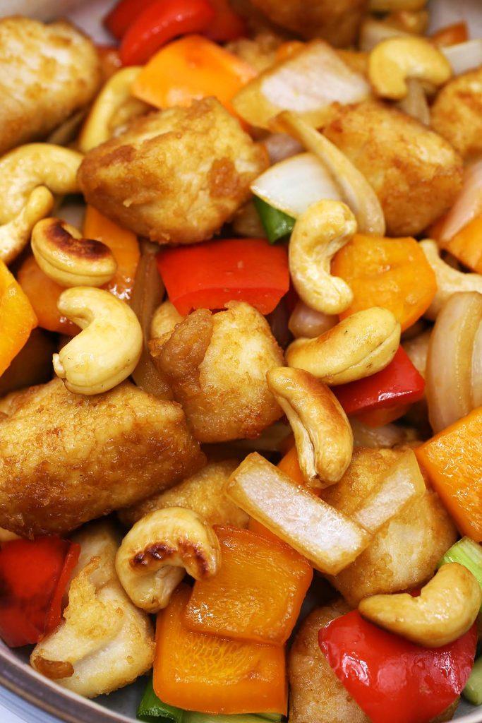 Asian chicken stir fry in a plate.