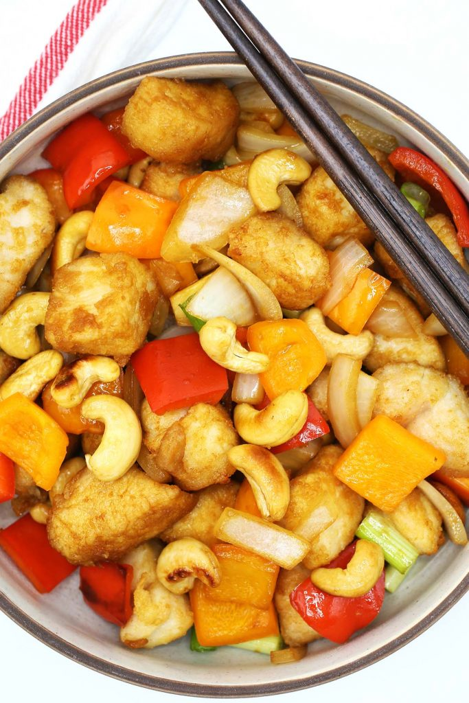 Chicken Stir Fry with vegetables and cashews.