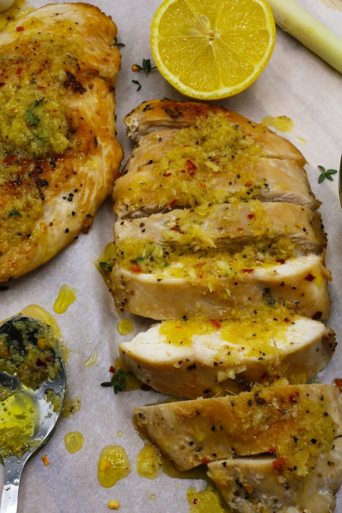 Pan fried breasts of chicken with lemongrass and honey sauce.