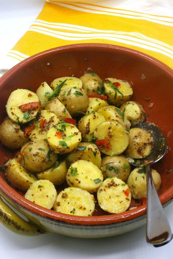 A large bowl of potato salad.