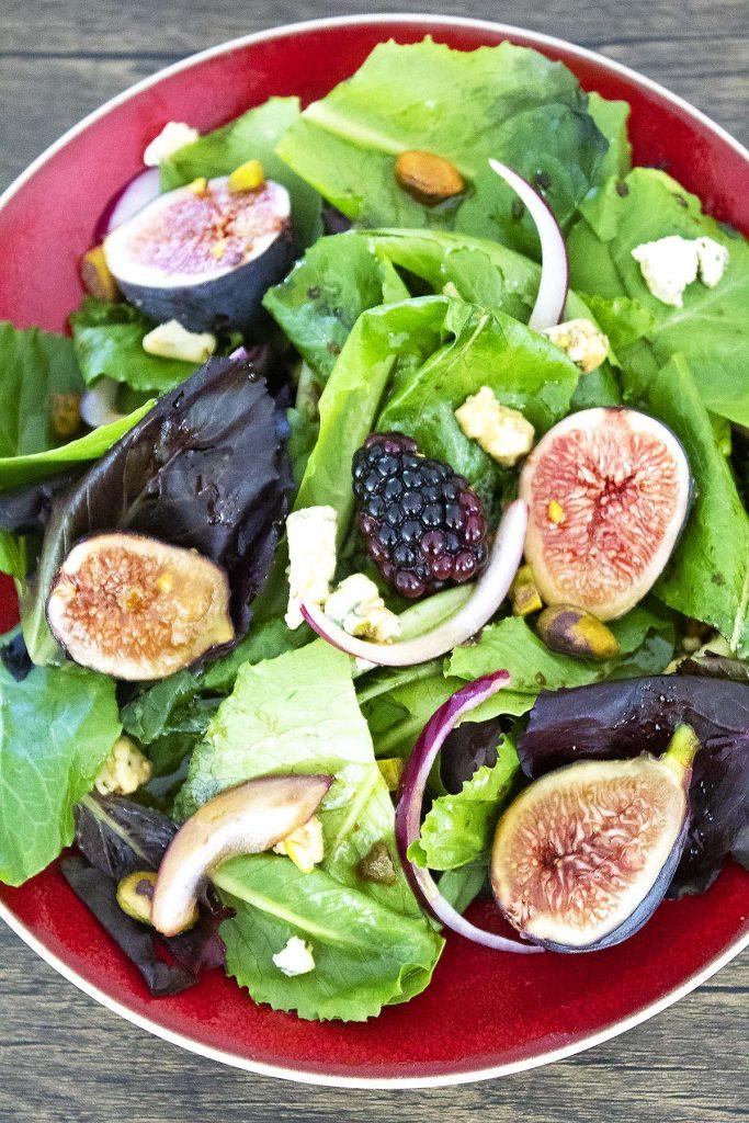Fig salad on a plate.
