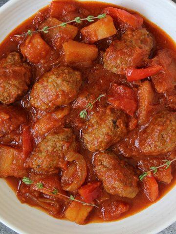 Kebab and potato stew